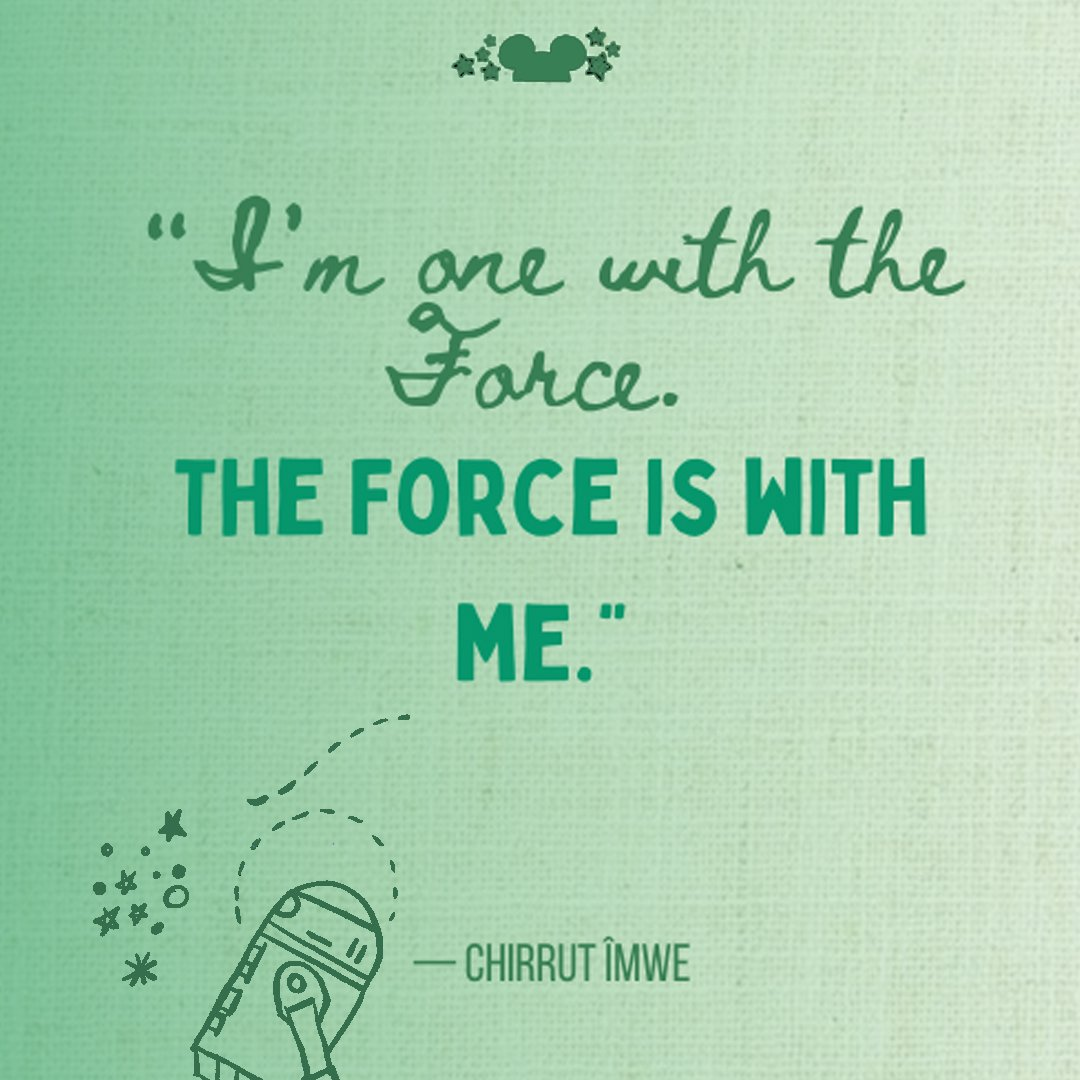 I'm one with the force and the force is with me