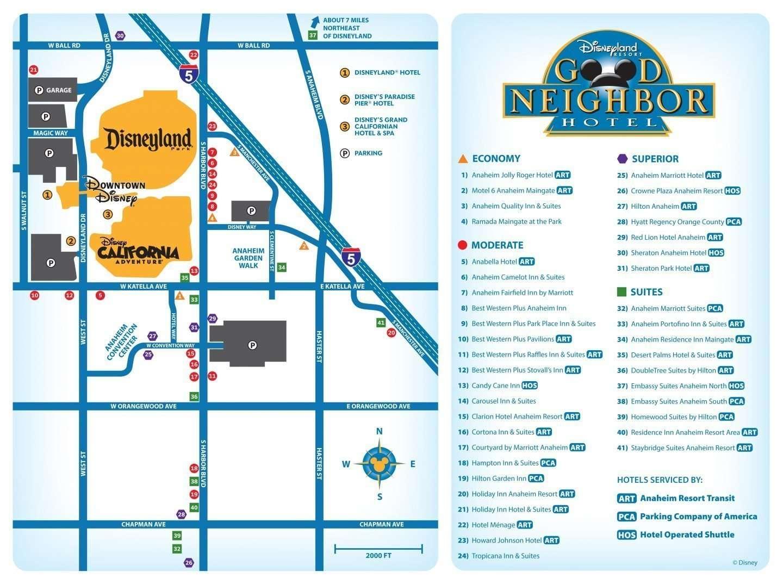 Disneyland Resort Good Neighbor Hotels Map