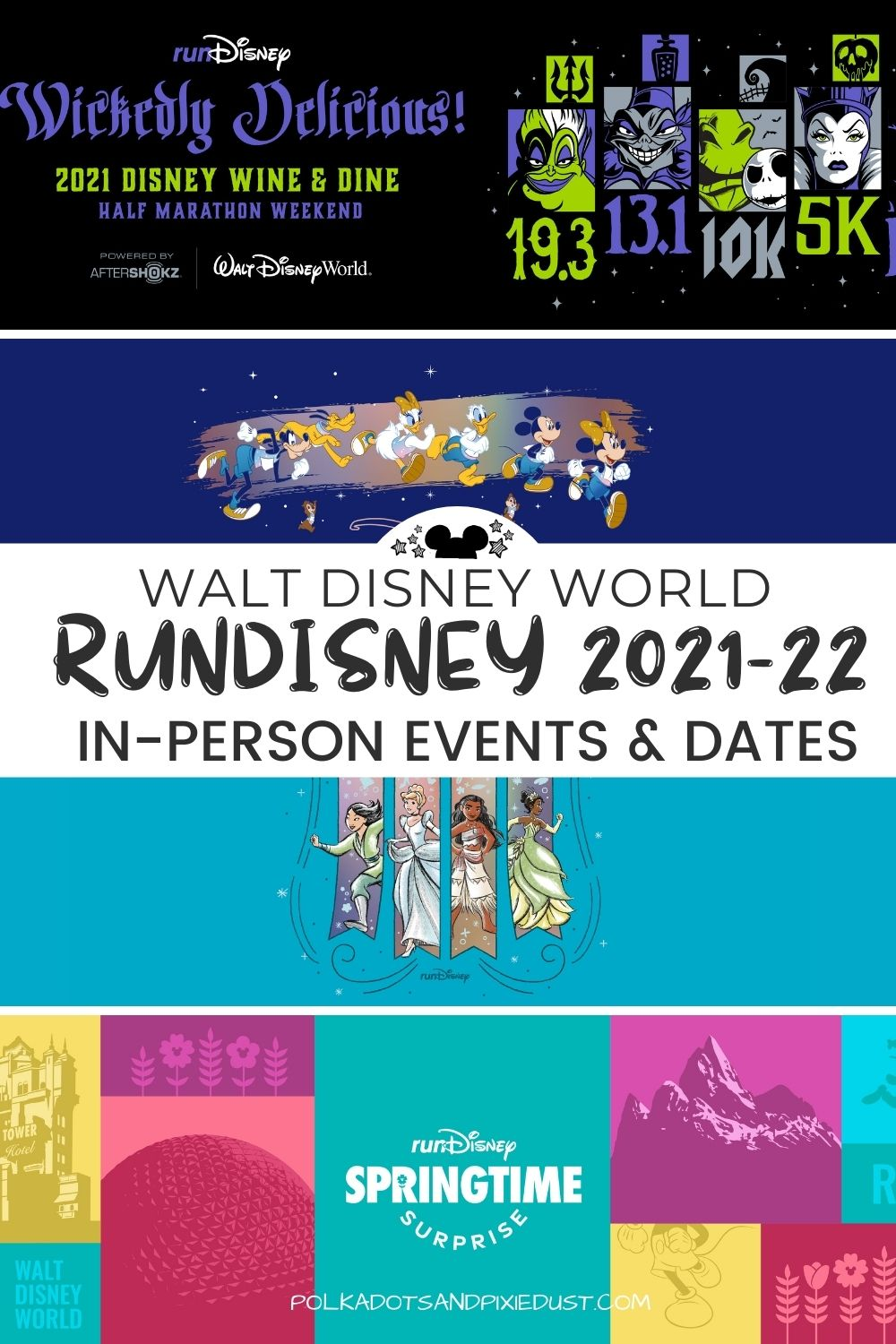 runDisney has just announced 2021 and 2022 in person dates for Walt Disney World marathons! Plus a brand new event in spring 2022. #polkadotpxies #rundisney #disney2022