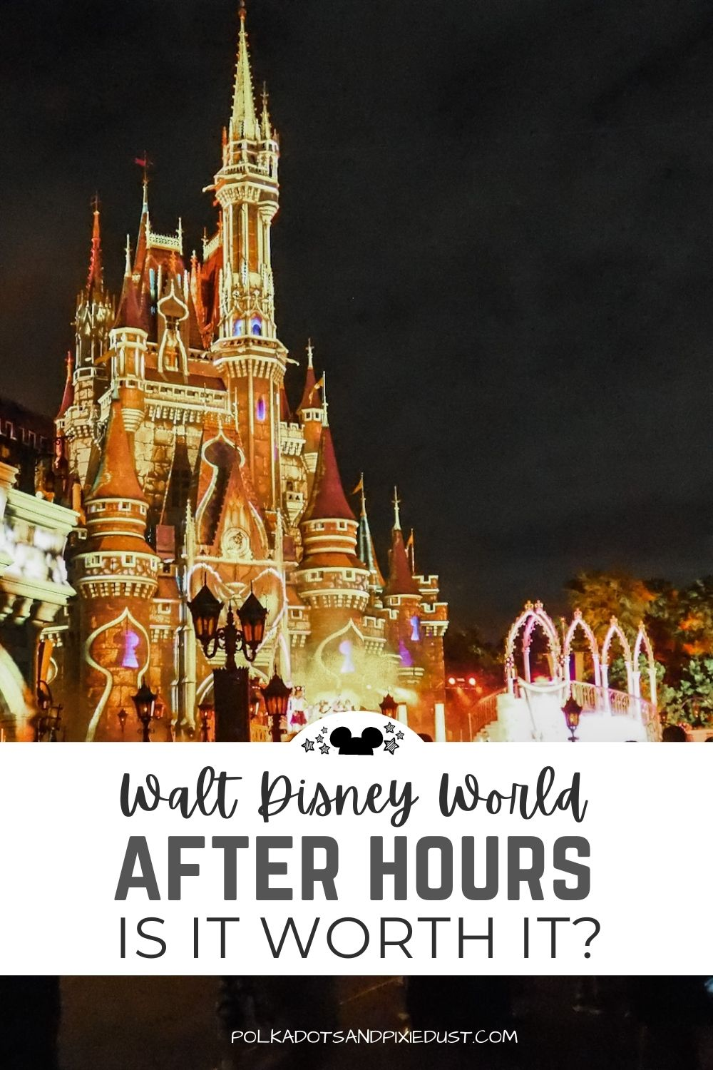 Disney's After Hours event at Magic Kingdom is expensive! Is it worth it? For a 3 hour event, with limited capacity, and complimentary snacks, here is everything you need to know about an After Hours event at Magic Kingdom Park. #polkadotpixies #disneyvacation