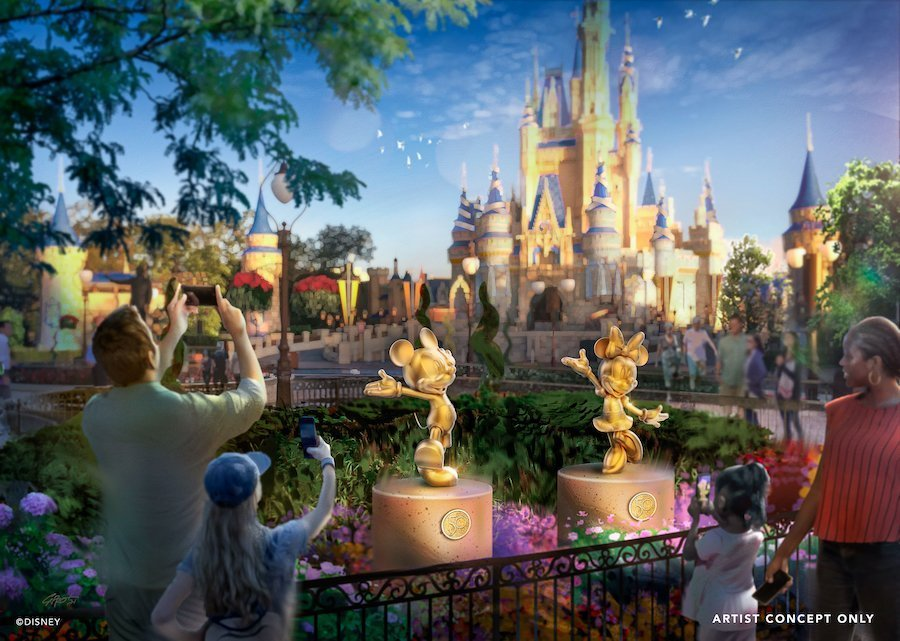 50th Anniversary Golden Statues across all four parks
