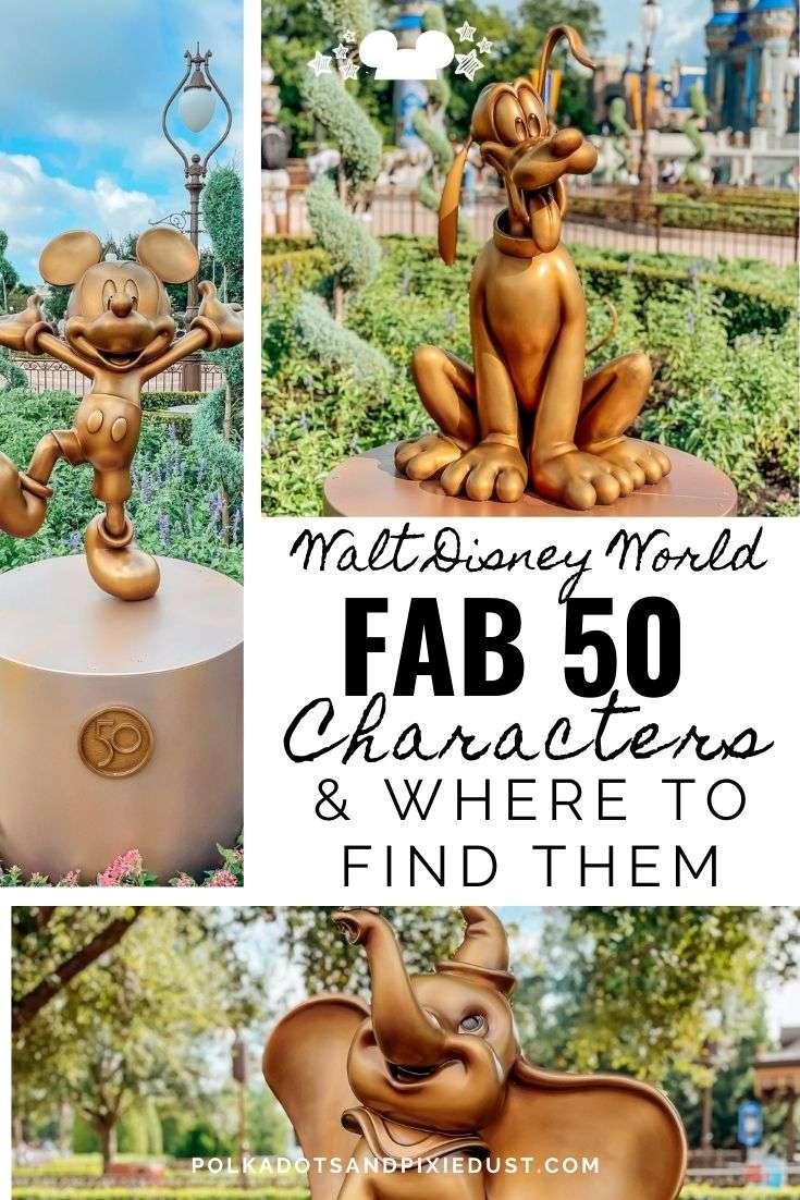 Disney World Fab 50 Golden Statue Characters and Where to Find them! #disneyanniversary #waltdisneyworld #polkadotpixies