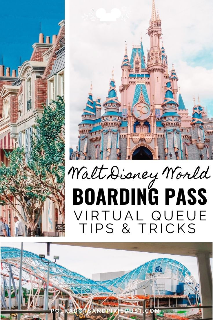 Everything you need to know about the Disney Virtual Queue Boarding System, from what rides, to what times to how to make sure you get one. #disneyrides #polkadotpixies #disneyvacation