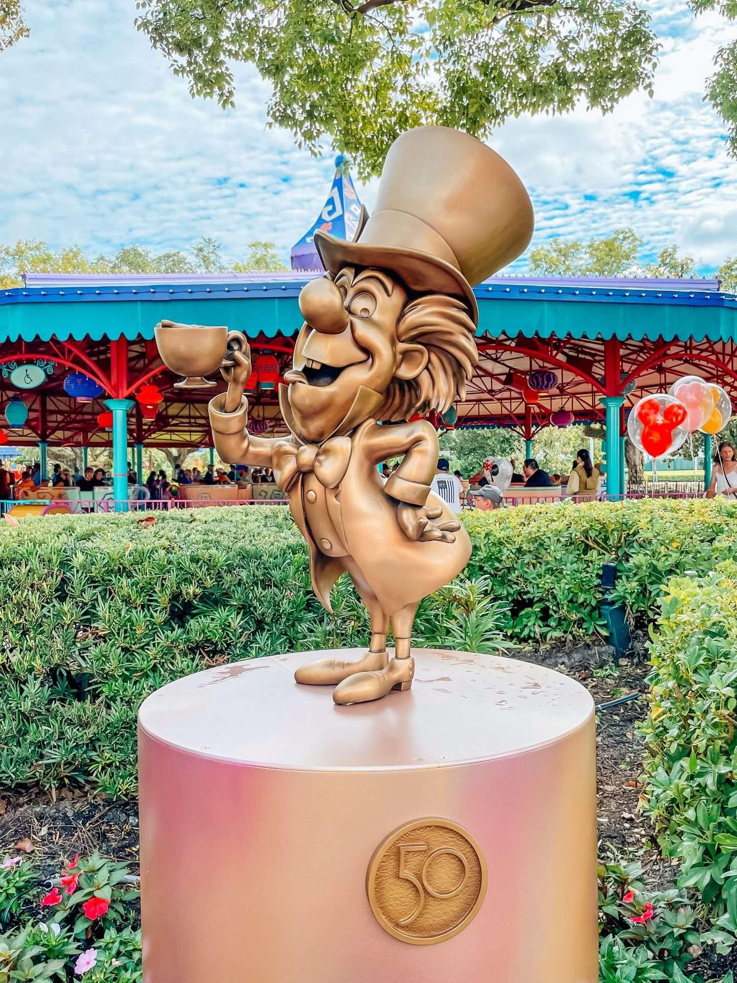 Disney 50th Anniversary statues at Walt Disney World