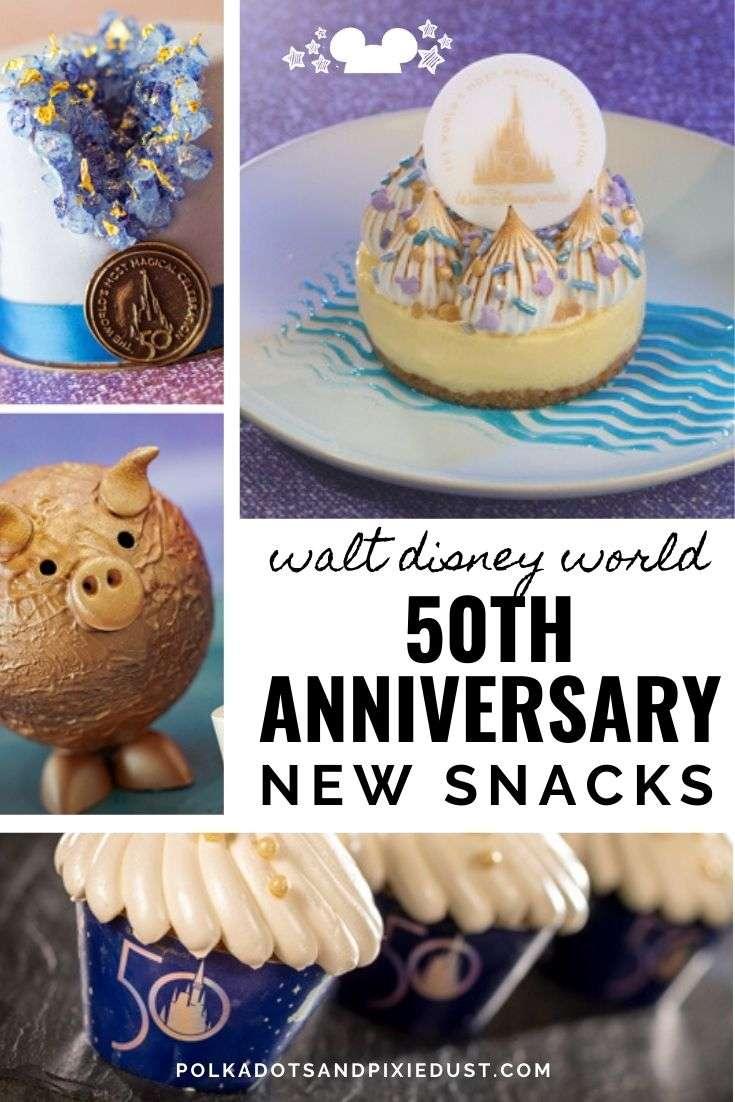 New Snacks for Walt Disney World's 50th anniversary includes new menu items, treats, both savory and sweet and Walt Disney's favorite dishes. #disney50 #polkadotpixies #disneysnacks